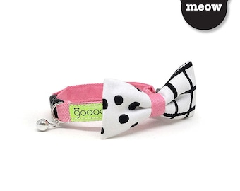 GOOOD Cat Collar   Mighty Bow - Spots N Checks   100% Pattern Cotton Fabric   Safety Breakaway Buckle