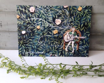 Her Songs brought flowers, blank post card, girl with guitar, summer, glossy finish 5 x 7