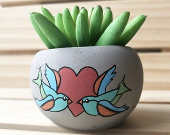 Love Sparrows - Faux Plant Decor - Tattoo Heart Bird Design - Fake Plant - Gift for Her - Miniature Plant - Artificial Plant - Plant Lover