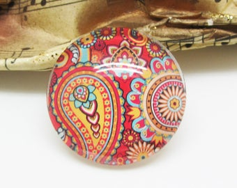 1 cabochon 25 mm glass Paisley red Orange 7-25 mm