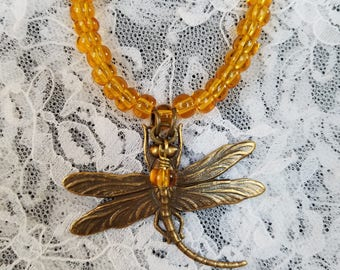 Dragonfly and Amber Beaded Necklace and Earrings Set