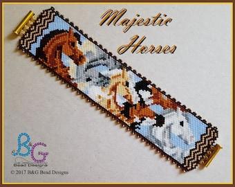 MAJESTIC HORSES Peyote Cuff Bracelet Pattern
