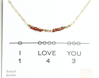 I Love You Gemstone Secret Code Short Necklace - Garnet