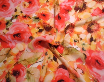 SPECIAL--Yellow and Coral Red Floral Print Pure Silk Chiffon Fabric--BY THE Yard