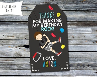 Rock Climbing Thank You Tags / Party Bag Tags (Personalized) Digital Printable File