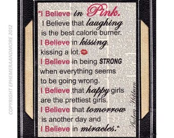 """AUDREY HEPBURN """"I Believe In Pink"""" quote art print wall decor poster Breakfast at Tiffany's typography on vintage dictionary book page 8x10"""