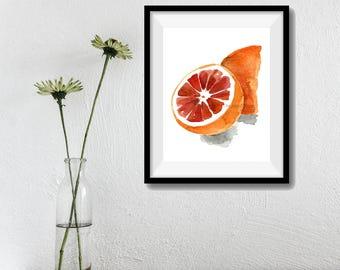 Blood orange 2 art print, orange watercolor print, orange painting, kitchen art, fruits art, citrus artwork, botanical art, minimalist art