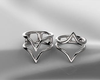 2** Silver Stackable** Knuckle*** rings