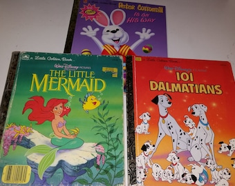Little Golden Book / 101 Dalmatians / Little Mermaid/ Peter Cottontail is on His Way/ Peter Cottontail /Children's Books / 80s / Classic/CIJ