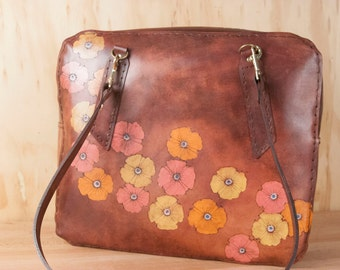Floral Tote Bag with Zipper Closure - Handmade Leather Vintage Stewardess Bag Style Oversize Purse in the Poppy Garden Pattern - Mahogany