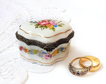 SALE Vintage French Limoges Porcelain Hand Painted Tall Box ,French Porcelain Dresser Box Floral Rose Pill Box,Wedding Ring Box