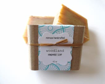 Handmade Woodland Soap, Cold Process Soap, Vegan Soap 4.5oz