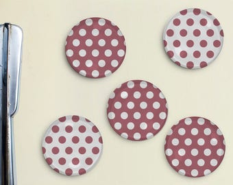 Polka Dot Magnets - Dots, Pattern, Mauve, Office, Organization, Home Office, Refrigerator, Fridge, Kitchen, Organize, Gift, Pattern