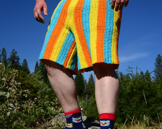 Crochet Shorts Blue Yellow Orange Stripe L