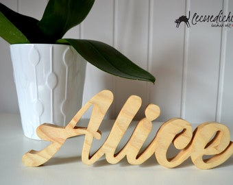 Name in wood-natural finish