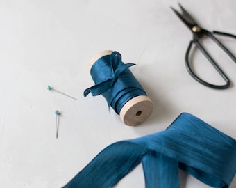 "Marine Blue Hand-Dyed Silk Ribbon (with Wooden Spool) - 5 yards - 1.25"" wide"