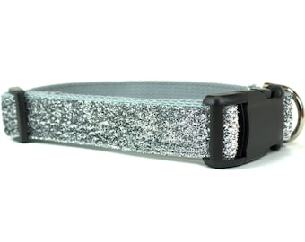 "Silver Glitter Dog Collar - 1"" Width Only - Glitter Dog Collar - Holiday Dog Collar - Fancy Dog Collar - Festive Dog Collar - Sparkly Collar"