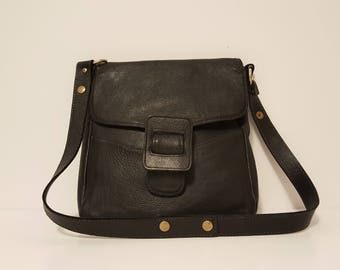 Vintage Black Leather Messenger / Crossbody Bag / Purse