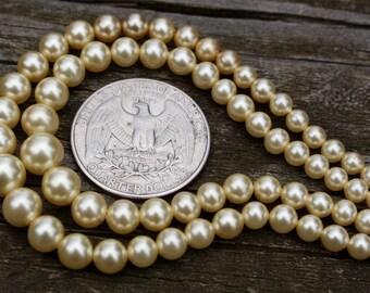 50's, Faux, Pearl, Double, Strand, Necklace, Pearls, Imitation, Vintage, Retro, Jewelry, Classic, Audrey Hepburn, Vanilla, Bridal, Costume