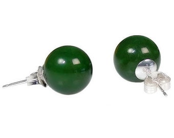 10mm Natural Nephrite Green Jade Ball Stud Post Earrings, 925 Sterling Silver, Jade Earrings, Ball Stud Earrings, Green Earrings, Jade Studs