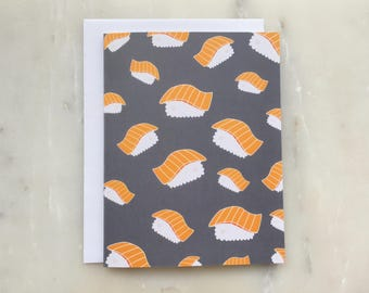 Salmon Sushi Notecard - Sushi Card, Sashimi Card, Salmon Sashimi Card, Nigiri Card, Food Card
