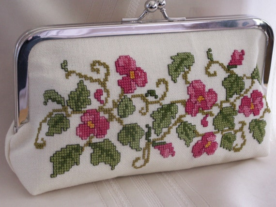 Handmade, hand embroidered evening clutch. Pink, green. PINK BEGONIA by Lella Rae on Etsy