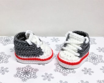 Sock Monkey Baby Shoes Converse Style Crochet Sneakers Boys Sneakers Gray  White Shoes