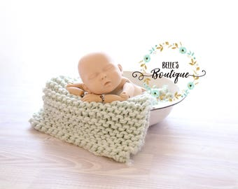 Hand knitted baby blanket photography prop