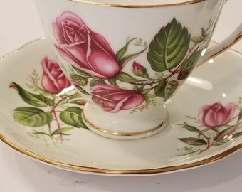 COLCLOUGH Bone China Vintage Tea Cup and Saucer, Pale Green with Pink Roses/ shabby elegant, vintage wedding/ customizable