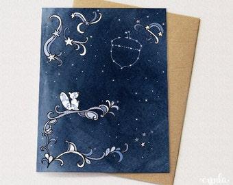 Starry Squirrel Happy Birthday Card - Constellation, Woodland Animal
