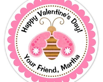 Butterfly Valentine's Day Stickers, Customized, 2.5 inch round