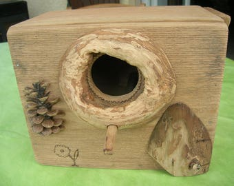 Nest box, birdhouse, cottage reproduction, parakeets and parrots, solid wood, handmade