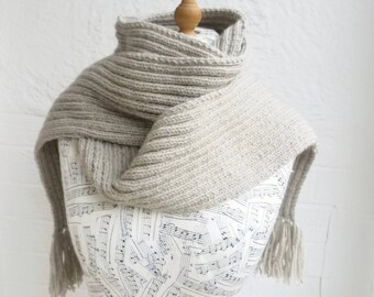 Grey Wool Alpaca Scarf, Men Women Ribbed Long Scarf, Choose Colour Long Fringed Scarf, Hand Knit Eco Wool Alpaca Scarf,  ClickClackKnits