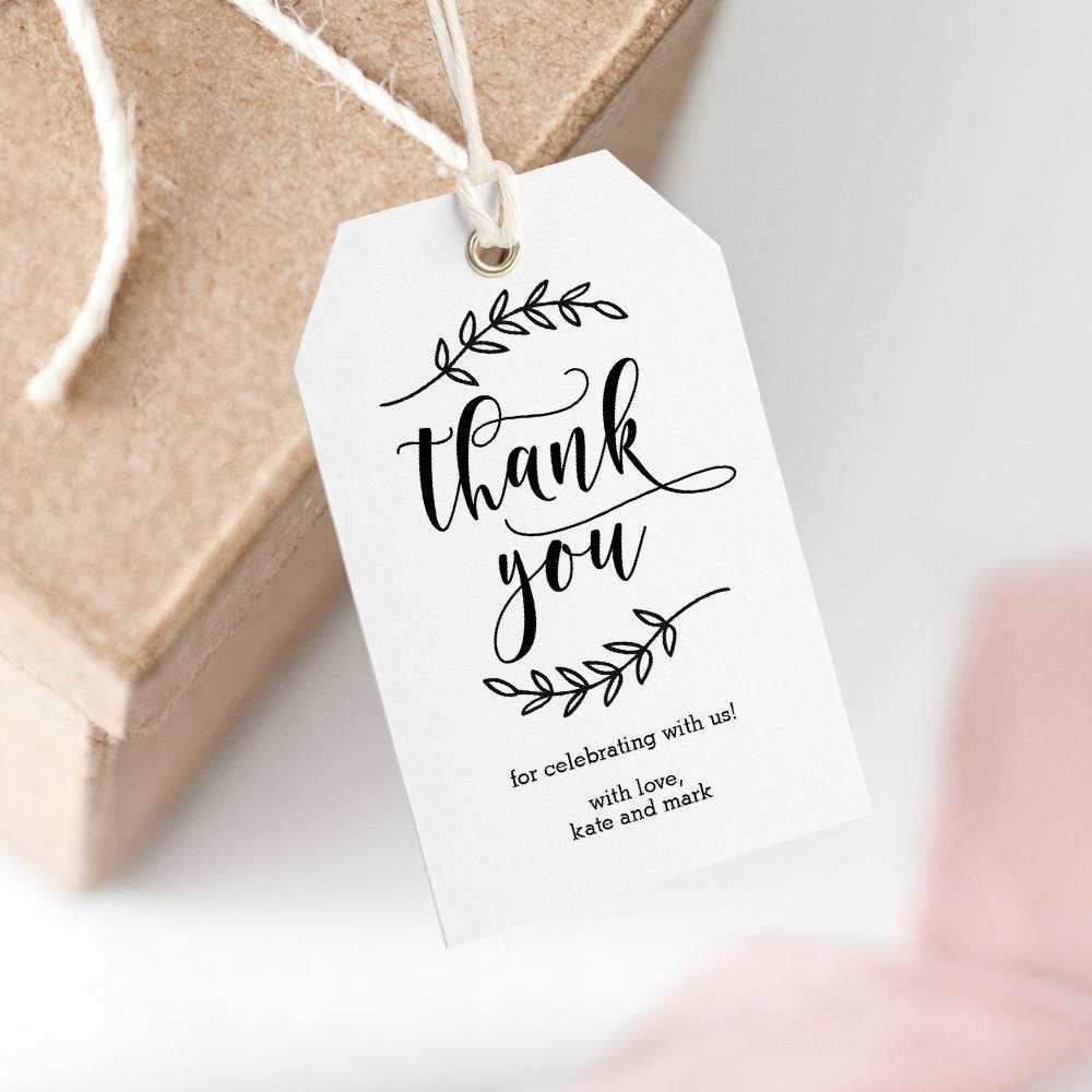 Printable Wedding Thank You Tag, Wedding Favor Tag, Wedding Welcome ...