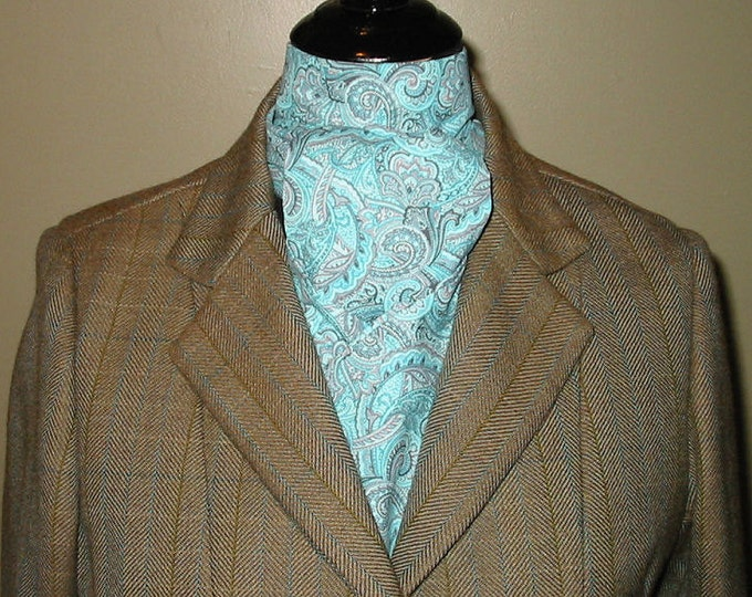 Peacock Blue and Sage Paisley Stock Tie