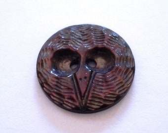 Antique Vintage Carved Abalone Shell Owl Face Sewing Button