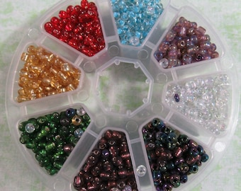 1 Glass Seed Beads Assorted Colors Kit Size 6/0 (B379b)
