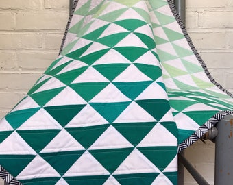 SALE Ombre half square triangle quilt gender neutral seaglass quilt blue green, ocean quilt, modern geometric quilt, triangle, monochromatic