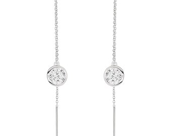 Women Rhodium Plated Silver Round 1.7ct CZ Bezel Drop Threader Dangle Earrings(HBHB17E0636ACL)