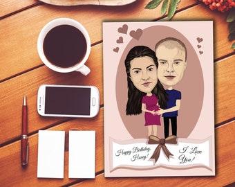 Custom Greeting Card   Caricature   Couple Portrait   Cartoon Portrait   Digital Caricature   Love Card   Birthday Card   Cartoon Drawing