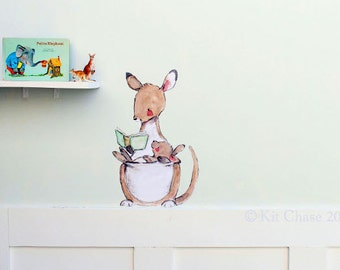 Nursery art, children's nursery, Kangaroo Read, wall decal, Kit Chase artwork, reusable