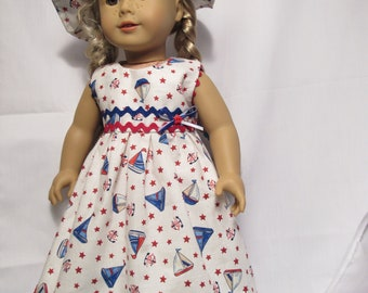 Sweet Summer Breezes Dress Hat Outfit for American Girl, Maplelea, Our Generation Dolls
