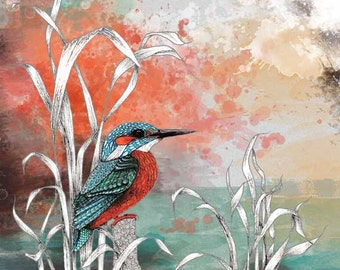 Kingfisher painting watercolor art print, turquoise wall art, teal decor, nature lover gift