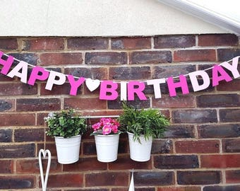 Personalised Birthday Girl Bunting Party Bunting/banner *bright Pink* Decoration With Hearts