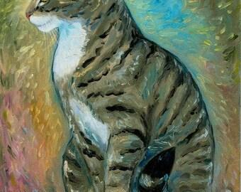 Brown Tabby Cat Original Oil Painting