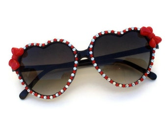 Pinup Rhinestone and Red Bow Heart Shaped Sunglasses, Embellished Sunglasses, Retro Sunglasses, Heart Sunglasses, Rhinestone Sunglasses