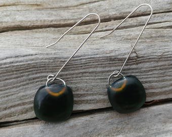 Handmade Recycled Green Glass and Sterling Silver Earrings