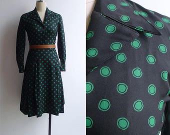 Vintage 70's Green Polka Dot Fit & Flare Black Dress XXS or XS
