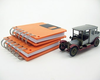 Orange Recycled Floppy Disk Notebook, blank notebook, to do list, black, orange, notepad