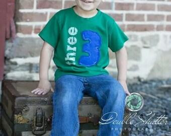 Kids Birthday shirt, Layered Applique Number, Vintage Style, 1st birthday, 2nd birthday, 3rd birthday, 4th birthday, 1,2,3,4,5 Free Shipping